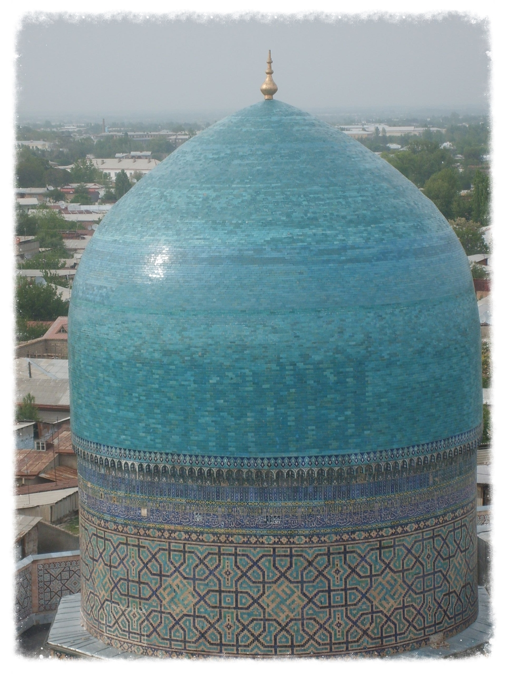 Cupola of the Tilla Kari Mosque in Samarkand, Uzbekistan.