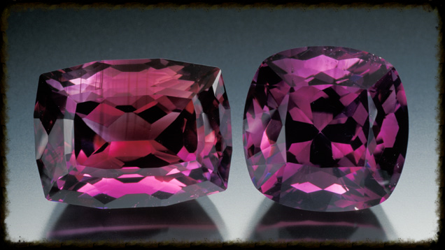 These two cut stones—19.25-ct. and 17.02-ct.—are excellent examples of fine-quality amethyst from Arizona. GIA.