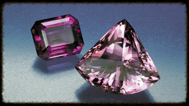 These two well-cut amethysts demonstrate the gem's possible light-to-dark color range. GIA.