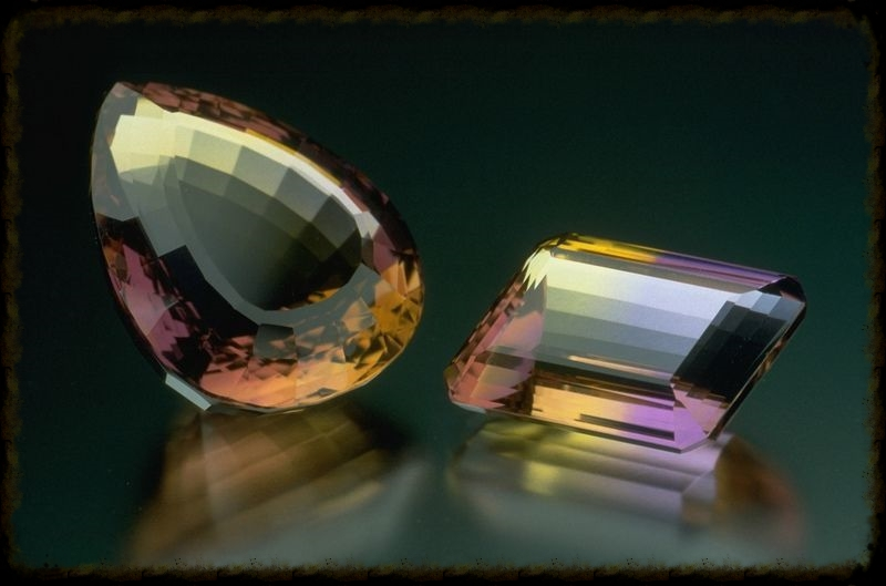 Pear-shaped and emerald-cut ametrines from the Smithsonian Institution.
