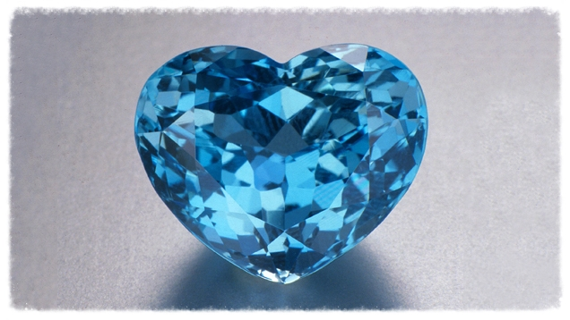 This superb 32.10-carat heart-shaped Brazilian aquamarine shows the gem's finest color, a moderately strong, medium-dark, very slightly greenish blue. Image from the Gemological Institute of America, courtesy M.Chung Gemstones and Fine Jewelry Co.