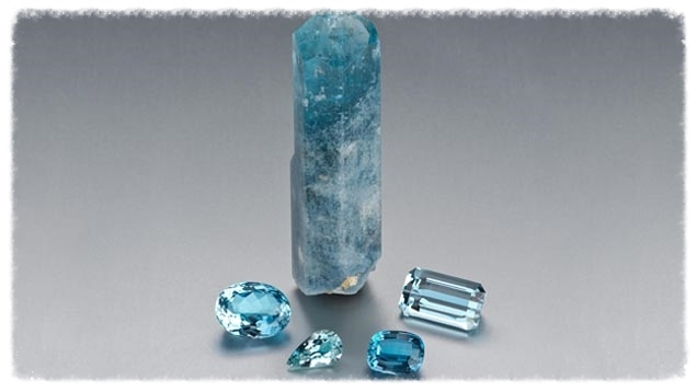 Several aquamarine specimens. Image from the Gemological Institute of America.