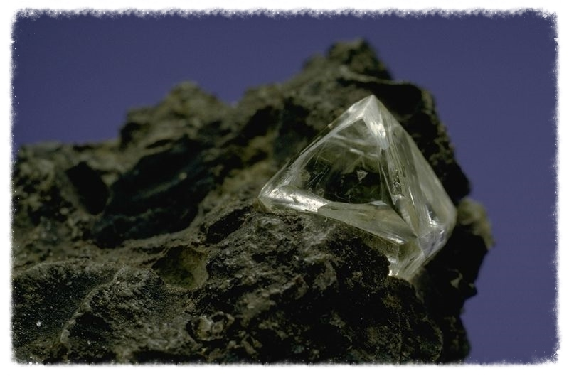 Diamond crystal in kimberlite. Image from the Smithsonian Institution.