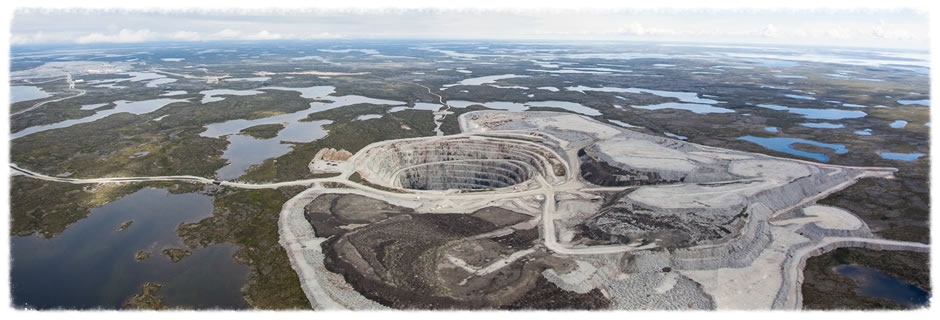 The pits at  Ekati diamond mine .