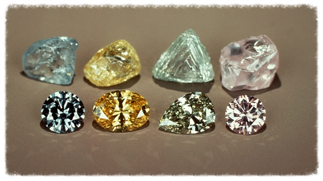 Various colored diamonds.  Image from the Gemological Institute of America.