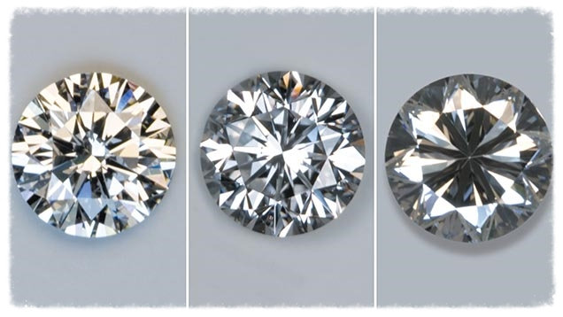 As a general rule, the higher the cut grade, the brighter the diamond. Under fluorescent lighting, these diamonds (left to right) display high, moderate, and low brightness.