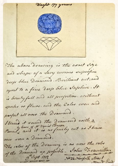 Image of a page from the Francillon Memo dated September 19, 1812 with a drawing of what appears to be the Hope Diamond. From the Smithsonian Institution.