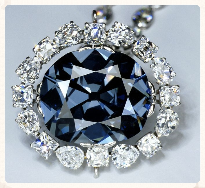 The Hope Diamond, probably the most famous of all blue diamonds.  From the Smithsonian Institution.