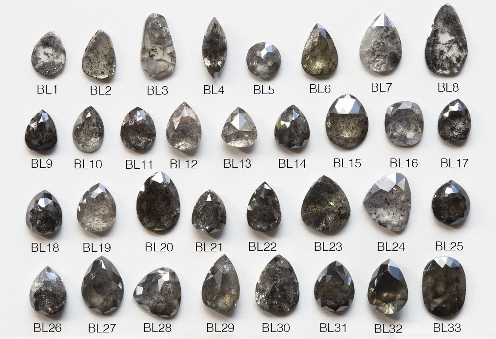 Shown here is a collection of faceted natural black diamonds from Alexis Russell. Notice the interesting shapes, complex inclusions, and range of hue.