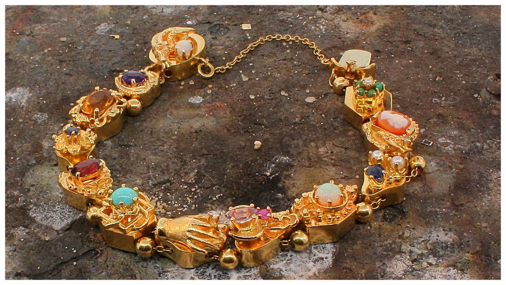 Antique bracelet of reproduction Victorian slides.