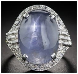 Star sapphire cocktail ring. Lang Antiques.