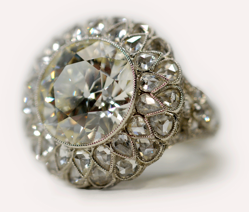 Old mine cut diamond ring.