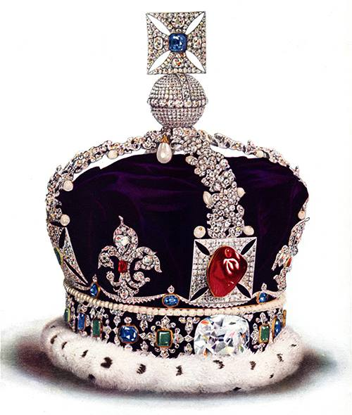 "During his campaign in France, Henry V of England wore a gem-encrusted helmet that included the Black Prince's Ruby. The Black Prince's Ruby is a large, irregular cabochon spinel weighing 170 carats. The spinel is one of the oldest parts of the Crown Jewels of the United Kingdom, with a history dating back to the middle of the 14th century. It has been in the possession of England's rulers since it was given in 1367 to its namesake, Edward of Woodstock (the ""Black Prince"")."