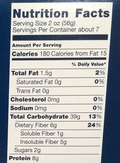 Whole Wheat Pasta Nutrition Facts Panel