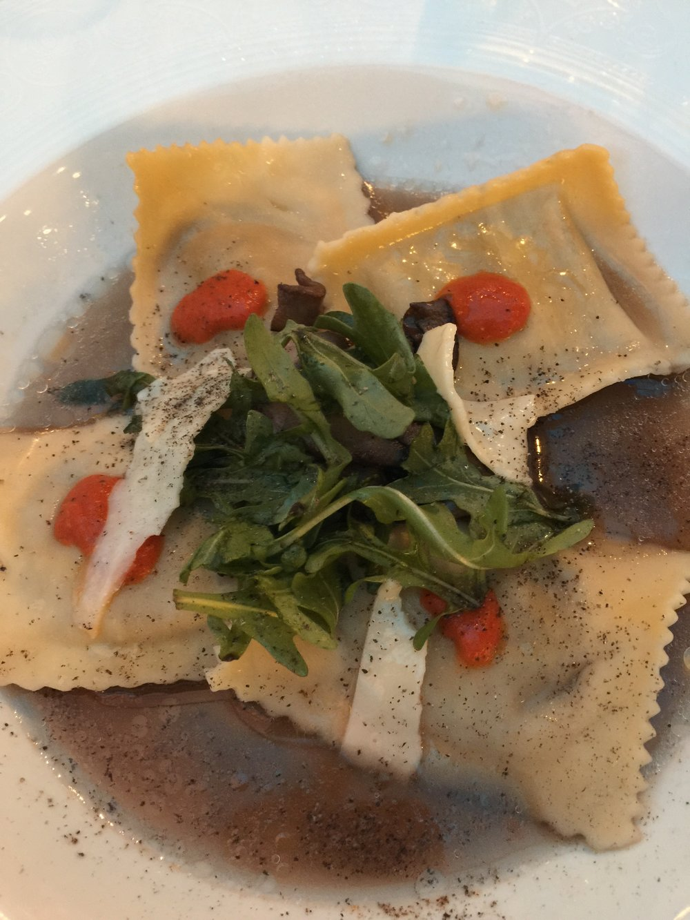Wild Mushroom Stuffed Pasta in Vegetable Broth