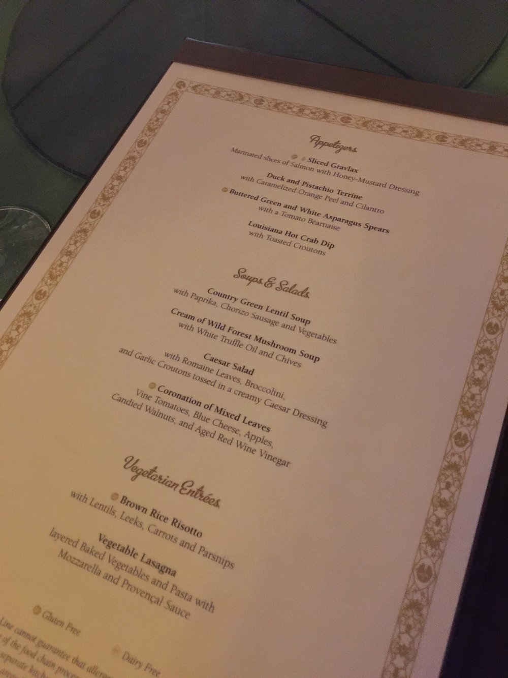 Night 1 Menu