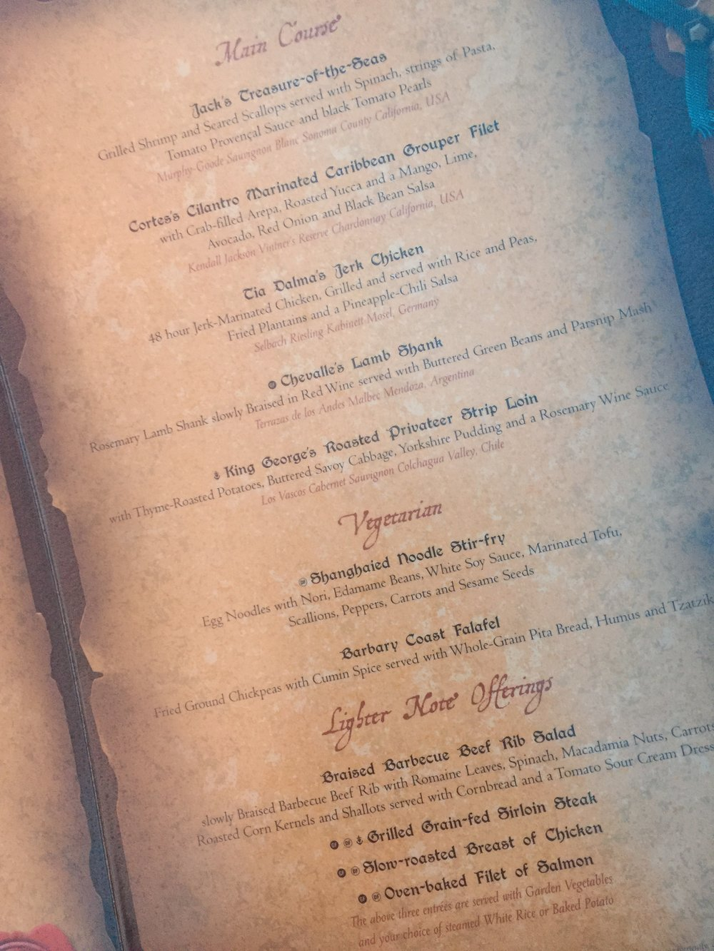 Pirate Night Menu (cont)