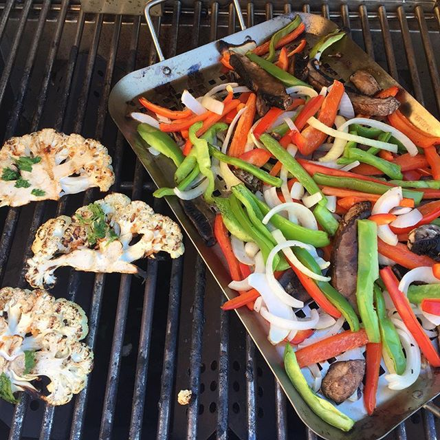Chipotle cauli steaks and fajita veggies on the grill- what is your favorite way to grill veggies?