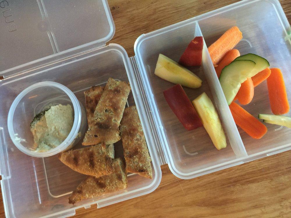 school lunch Mediterranean hummus platter