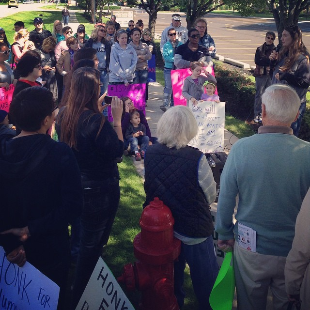 Peaceful demonstration. Peaceful discussion. #istandwithbarbwebb #marianbethechange