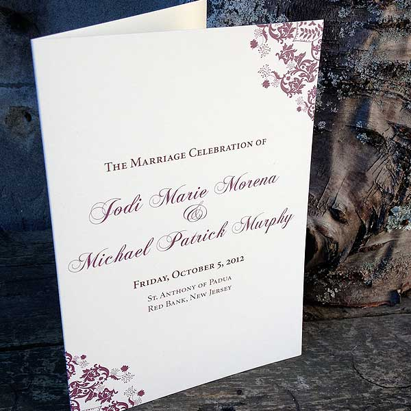 HalfFold Ceremony Programs Thinking Paper wedding invitations and