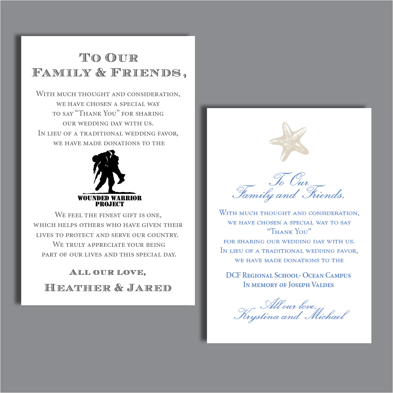 Favor Donation Or Thank You Cards Thinking Paper Wedding