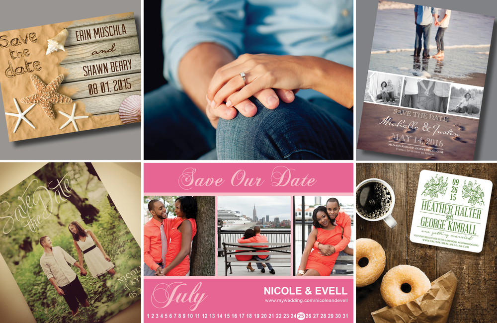 Save the dates are available to order in simple flat cards, magnets, postcards, and unique drink coasters |   Order Yours TODAY!
