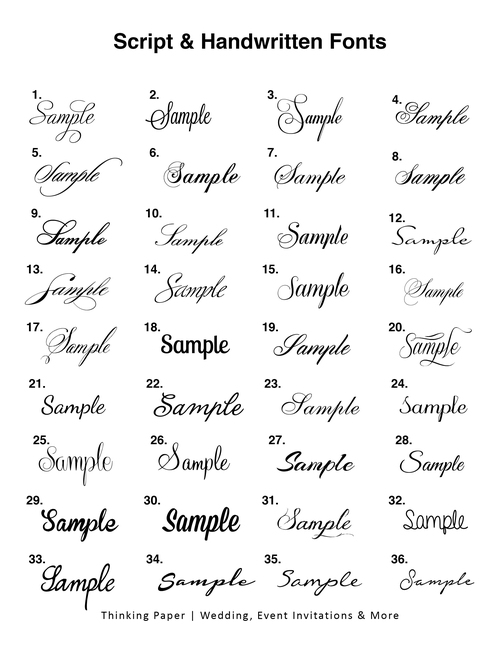 Font library thinking paper wedding invitations and designs wedding amp event invitation font listing stopboris Images