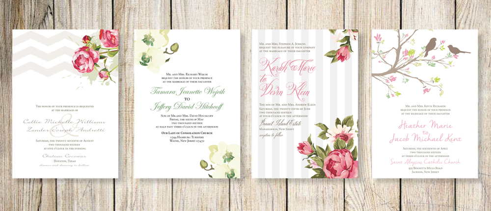 Spring theme wedding invitations:   Peony Love  |  Fluffy Orchids  |  Gardenland  |  Chirping Birds