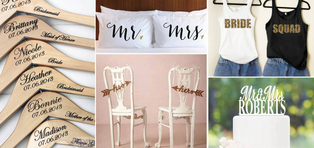 Hangers | Pillowcases | Chair Signs | Bridal Tanks | Cake Topper
