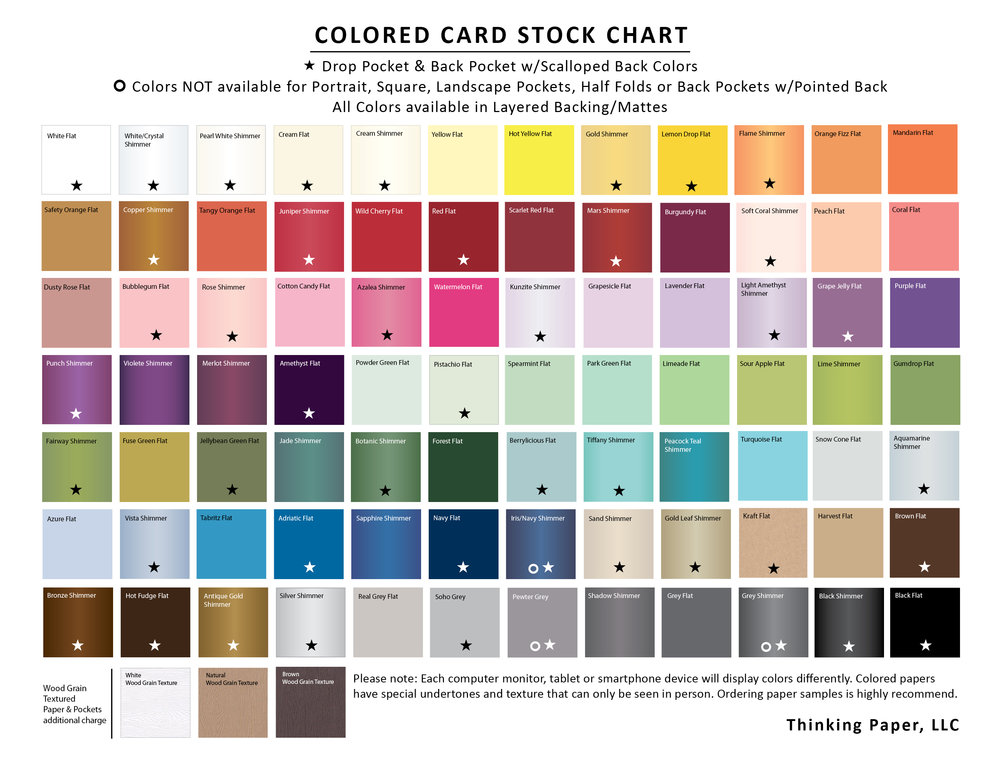 Paper colors: Pocket, Mattes, Envelope Color Chart