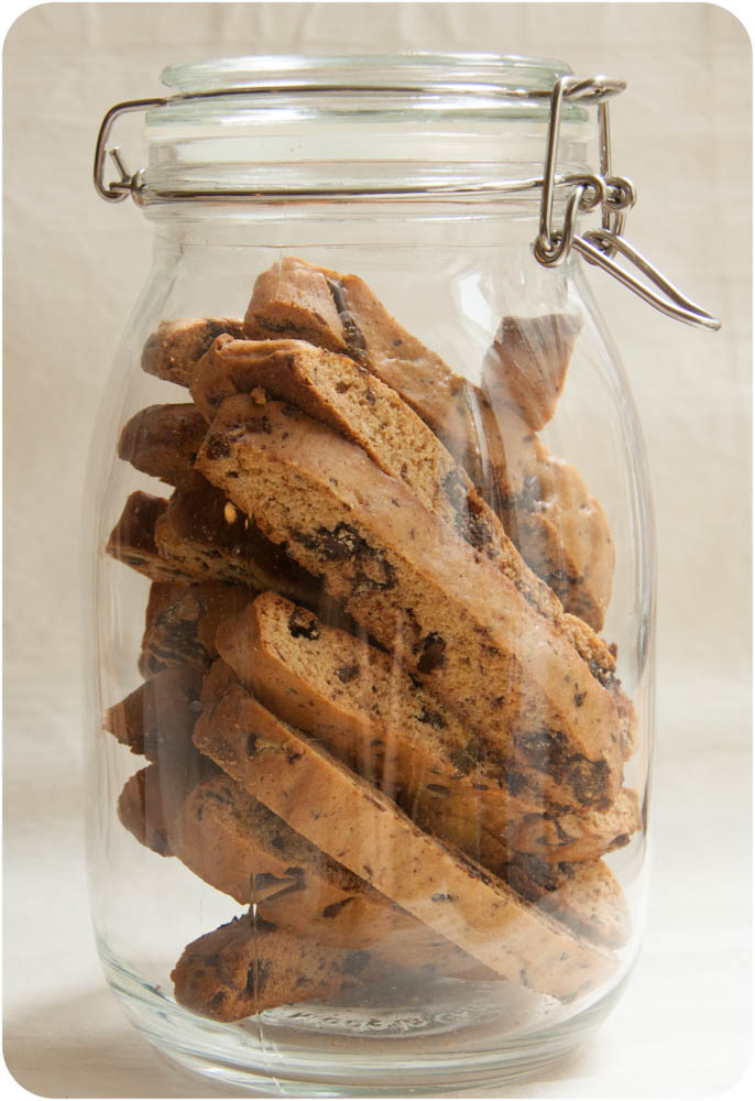hazelnut + chocolate chip biscotti