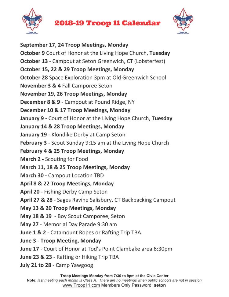 Greenwich Public Schools Calendar.Calendar Troop 11 Old Greenwich