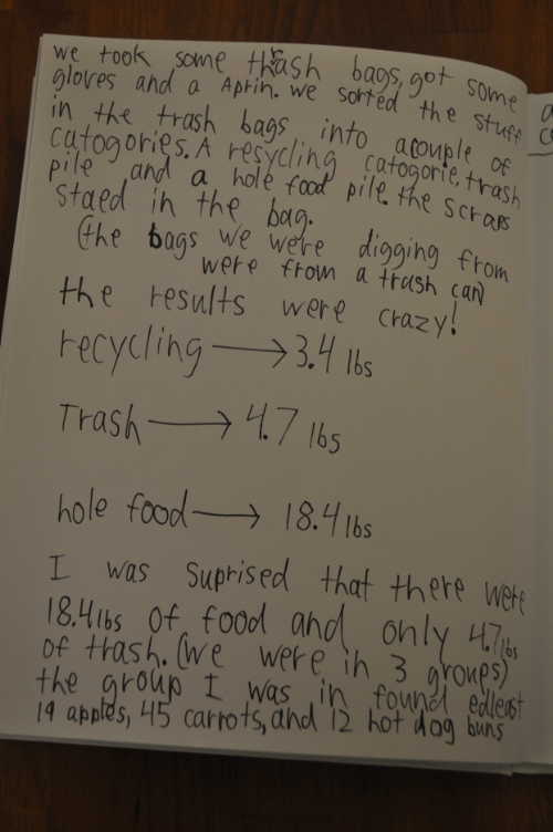 They still had time to work in journals, recording the results of their cafeteria study, and reflecting on what was found. We enjoyed our nutritious snack together, and students went home with a letter describing our work that day to their families and all the recipes we prepared.