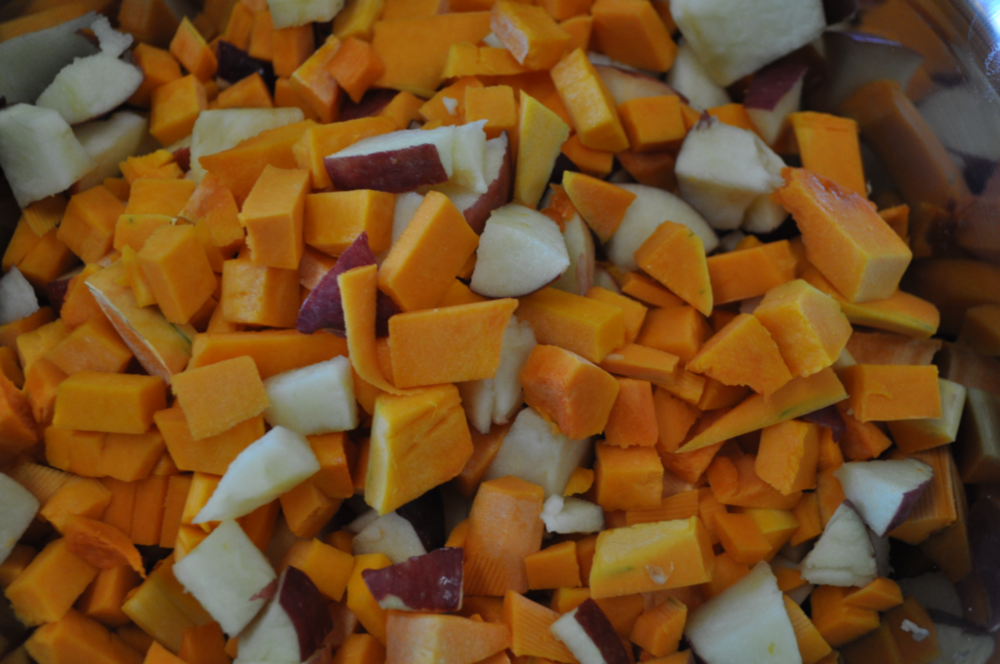Squash and apples, ready for roasting.