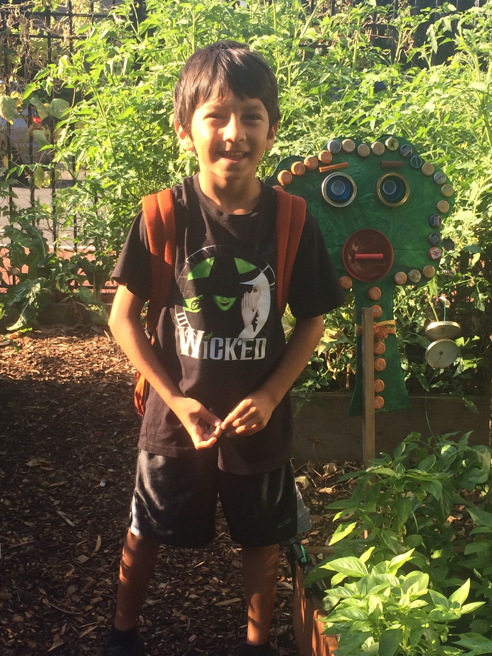 Ravi on the first day of school in the garden at SWS