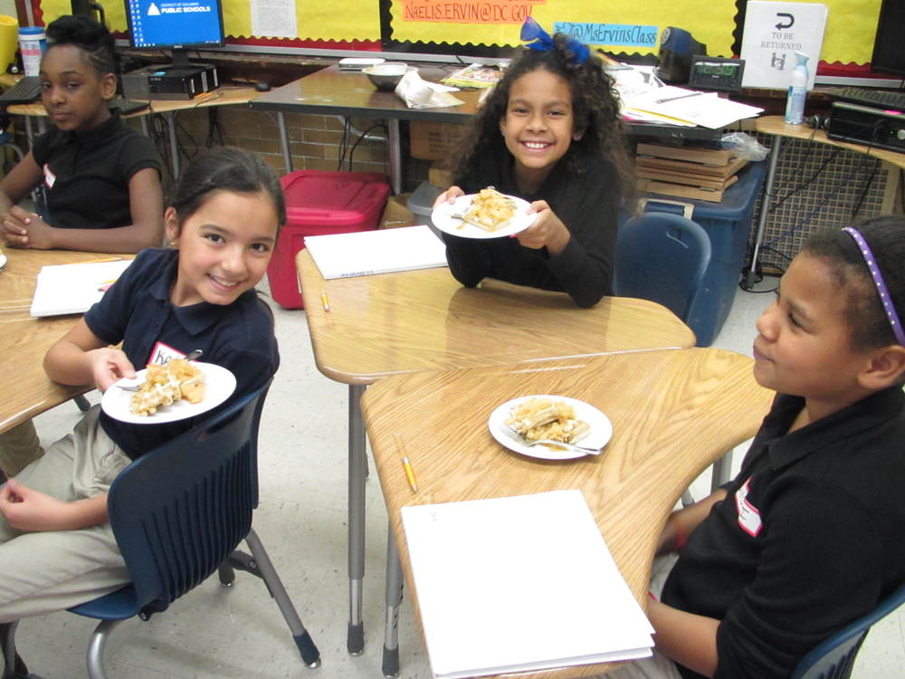 Francis-Stevens students enjoy their homemade waffles with the flour and butter they made!