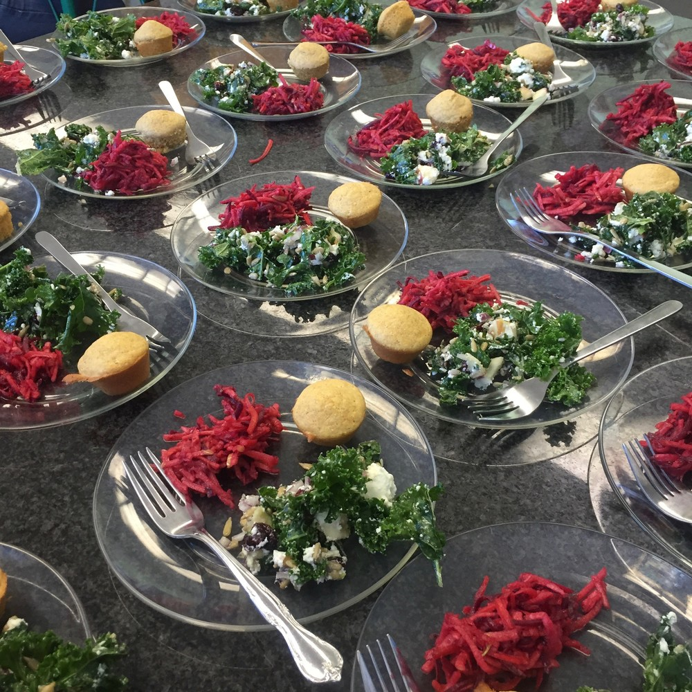 FoodPrints recipes: ABC (Apple Beet Carrot) Salad, Northern Corn Bread & Colorful Kale Salad