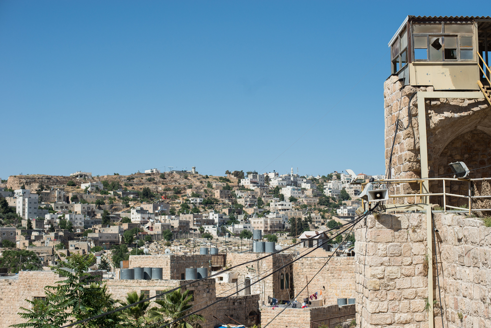 View of Hebron from the entrance of synagogue Ma'arat HaMachpelah.