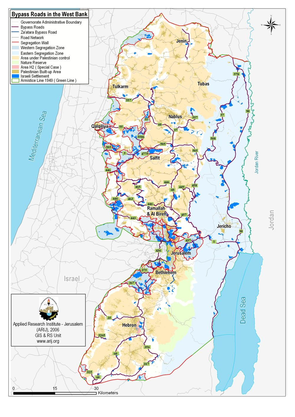 Map of the West Bank showing bypass roads and sequestration of the region.  For an interactive map see  B'Tselem's map .