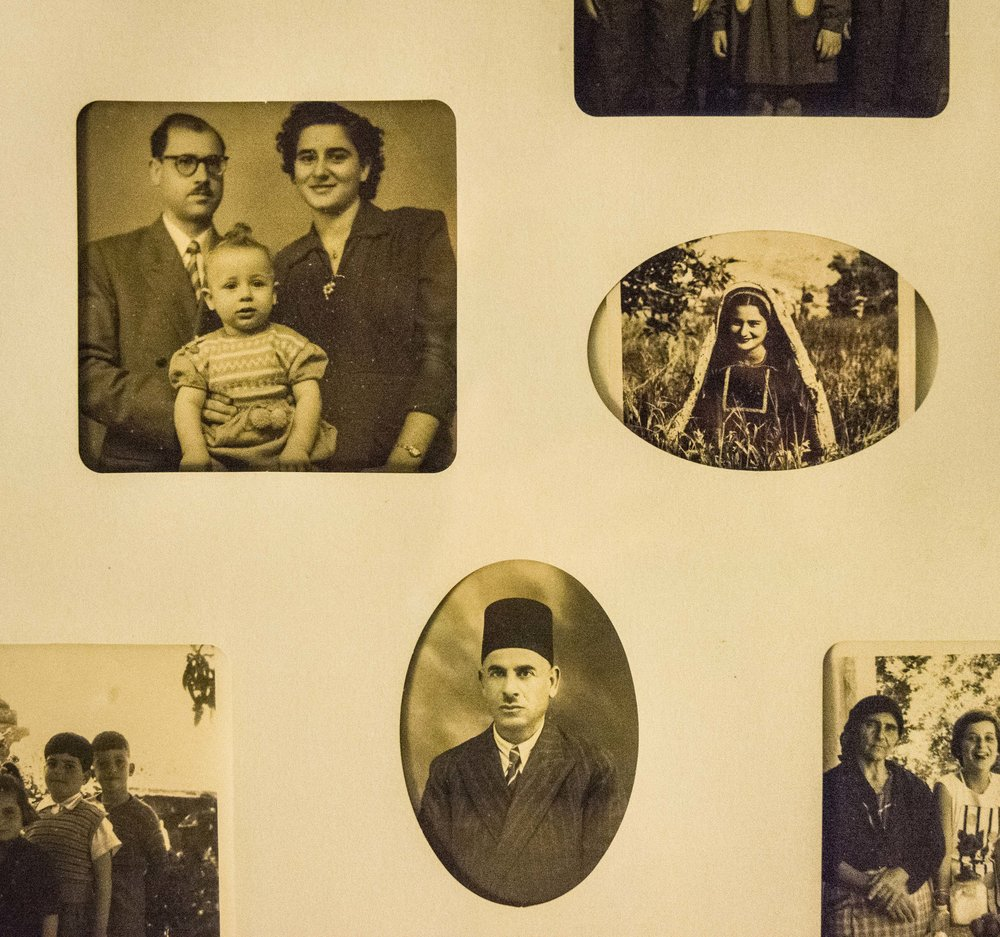 Three photographs of Yousef's family, clockwise from upper left: Yousef with his parents, Yousef's mother, Yousef's father in traditional attire of the Ottoman Empire.