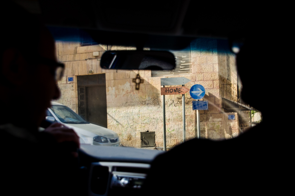 Driving from Bethlehem to Beit Sahour.  Bethlehem, West Bank, Palestine ©2013