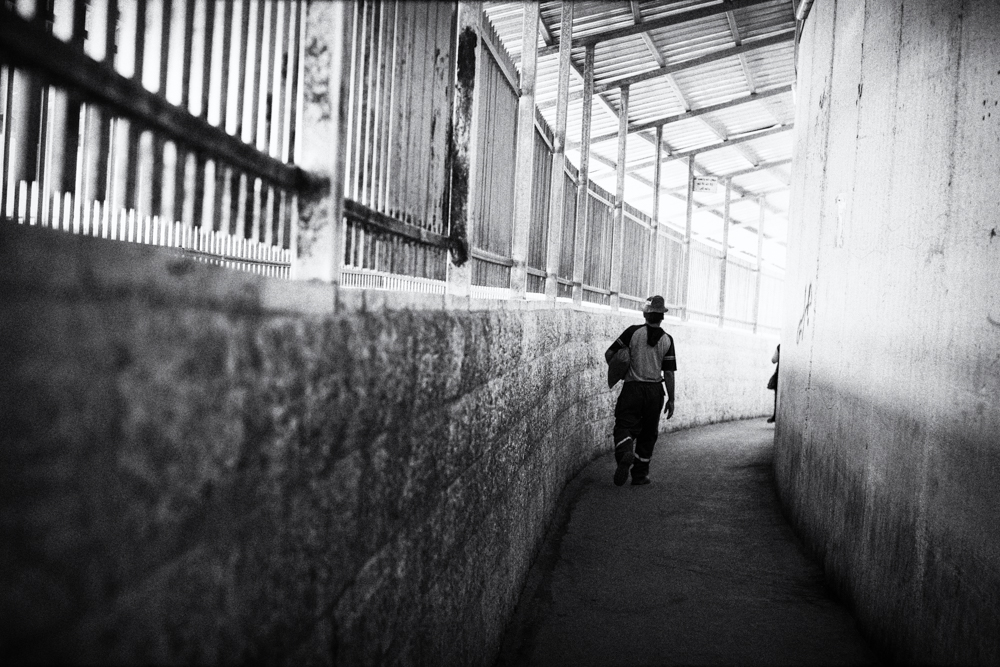 """Checkpoint 300""- Bethlehem, Palestine, 2011    LISTEN    ""You know, if you are used to [going] through checkpoints you feel like fear of the Israeli soldiers. Sometimes you just cross the checkpoint, without any questions. Sometimes you'll be body searched. Sometimes the soldier will be… mean, it depends about the general situation.  ""But by time, and because I have to cross these checkpoints a lot, you know like normal for me, and to do that safely we cross it like in groups and not alone."""