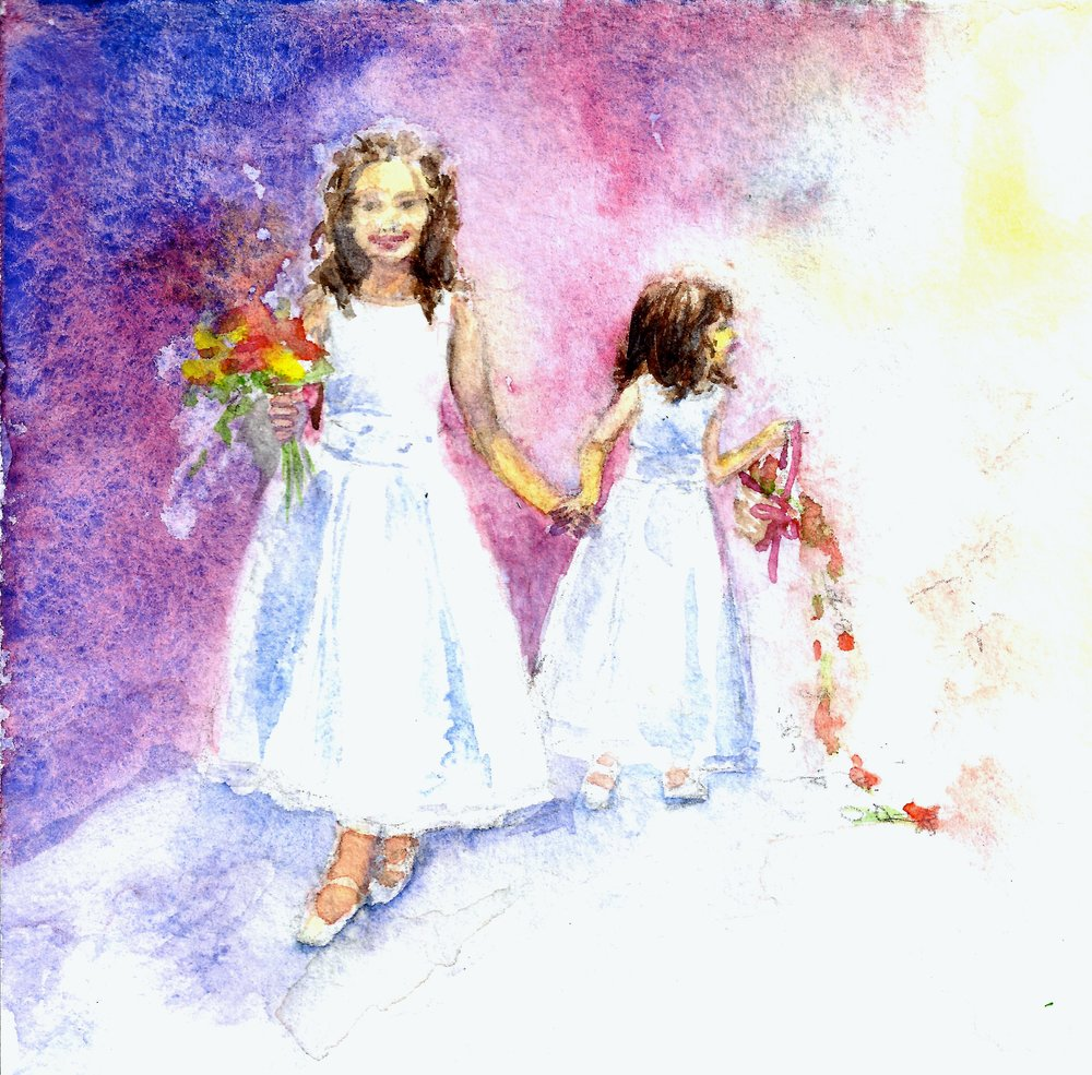Flower Girls   watercolor on 140 lb cold press