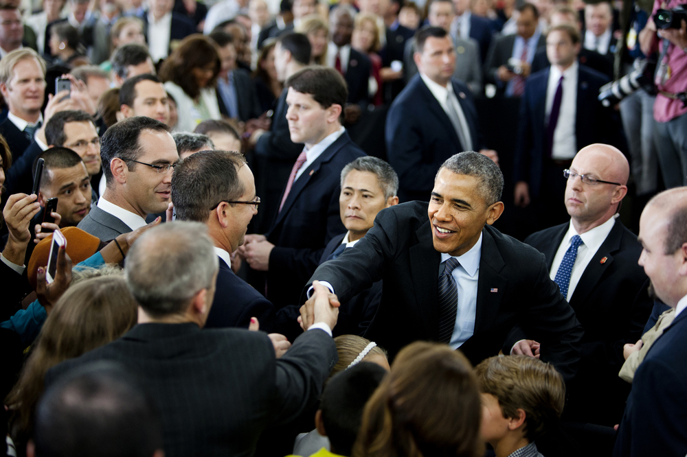President Barack Obama greets members of the crowd after his speech about energy efficiency held at Walmart in Mountain View, on May 9, 2014.