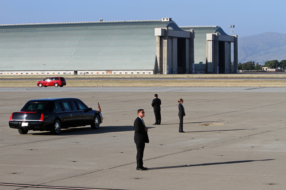 Secret service secure Moffett Federal Airfield for President Obama's arrival to start his Silicon Valley campaign funding tour, on May 23, 2012.