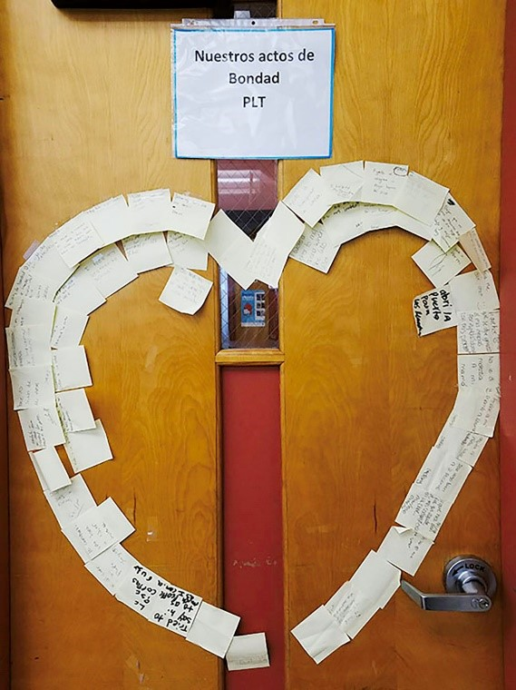 "Emelia's Personalized Learning Time class displays a heart-shaped collection of ""Acts of Kindness"" to honor the students of Parkland, Florida."
