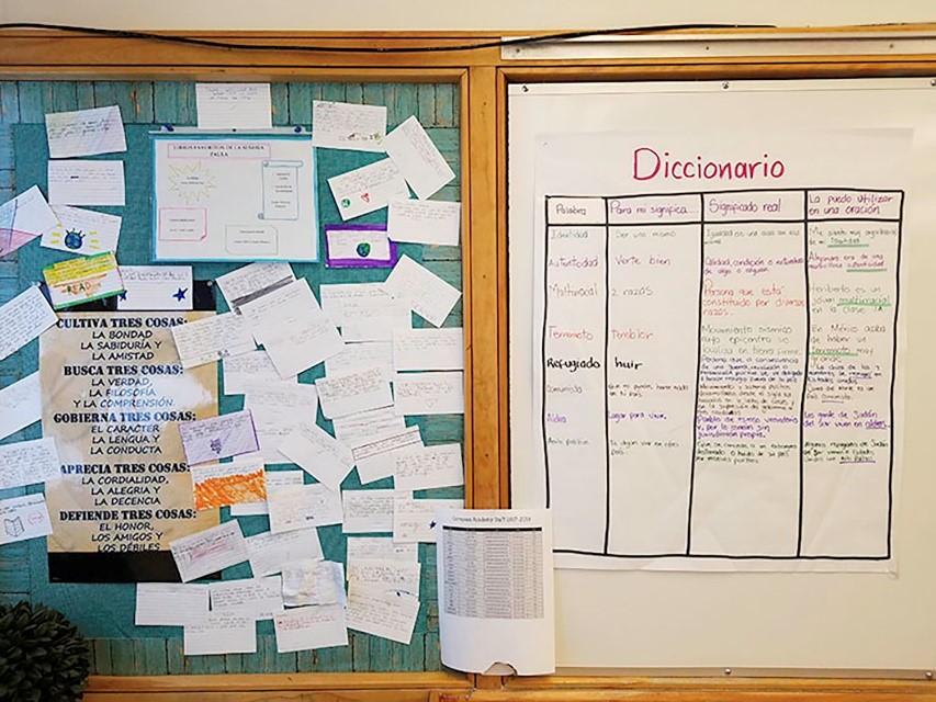 Un diccionario de palabras importantes de vocabulario en Español adornan las paredes de la clase de español de la Sra. Paula.
