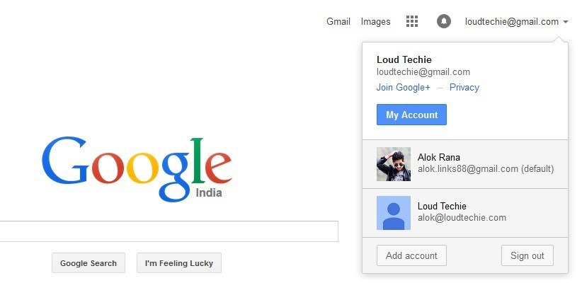 how to make my google account default