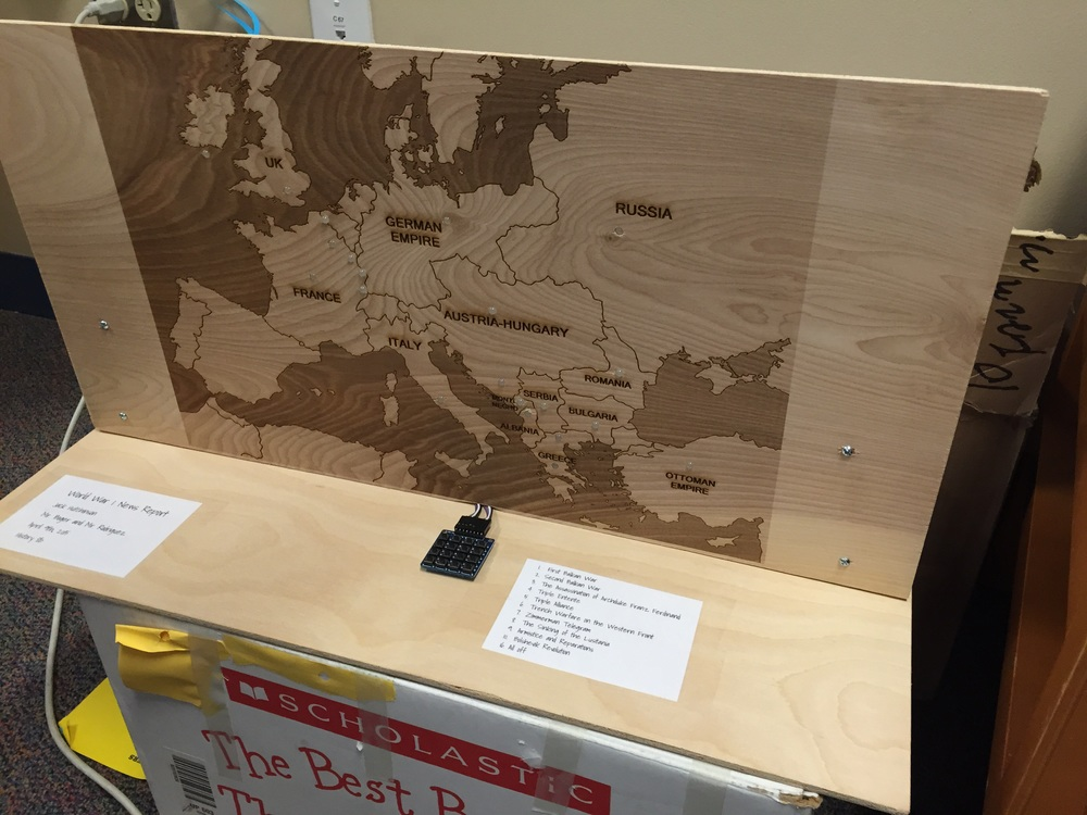 WW1 custom laser cut + arduino controlled map from social studies.